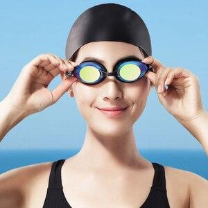 Image 2 - Yunmai yüzme gözlükleri seti HD anti sis burun güdük kulaklıklar silikon yüzücü gözlükleri siyah altın kiti