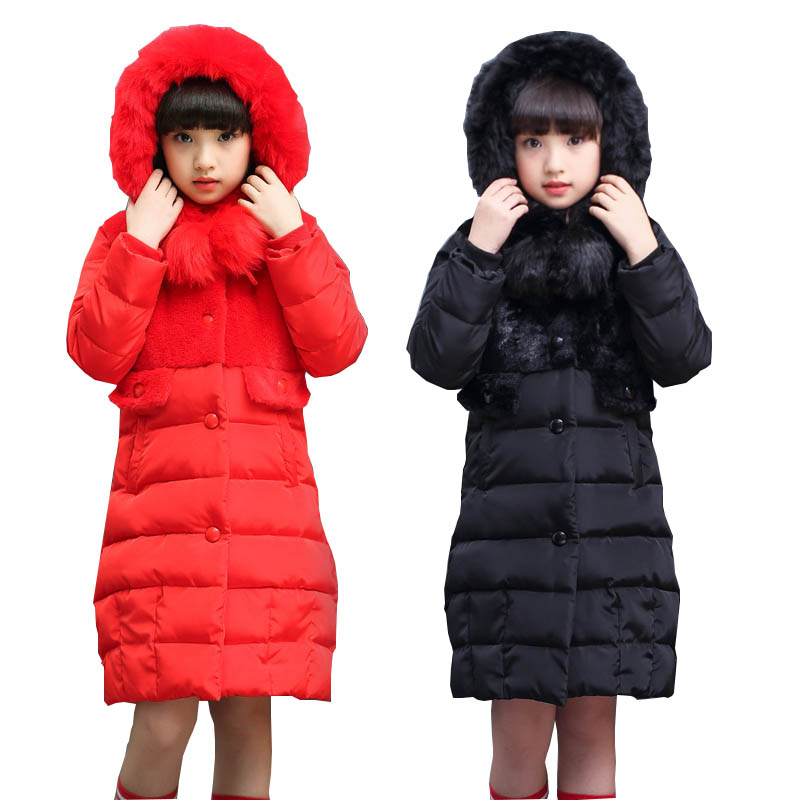 Girls coats kids down jackets outerwear down parkas 2017 winter jackets for girls down coats warm fur collar hooded kids coats casual 2016 winter jacket for boys warm jackets coats outerwears thick hooded down cotton jackets for children boy winter parkas
