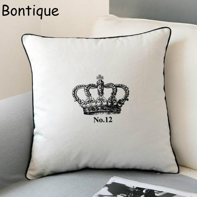 Fashion White Imperial Crown Cushion Cover Chic Throw Pillow Case