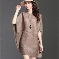 2019 Women Issey Miyake Womens Large Size Loose Batwing Sleeve Dress Spring New 2019 Elegant Wrinkle Pleated Mini Dresses