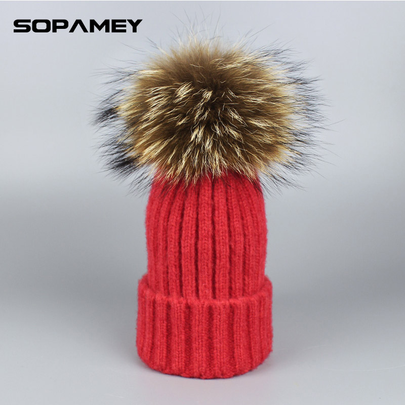 Knitted Wool Real Natural Raccoon Fur Pompon Hat Female Winter Braid Cap Headgear For Women Skullies Beanies Brand 2017 18cm natural raccoon fur pompon hat thick womens winter hat caps female skullies knitted beanies new thick female cap
