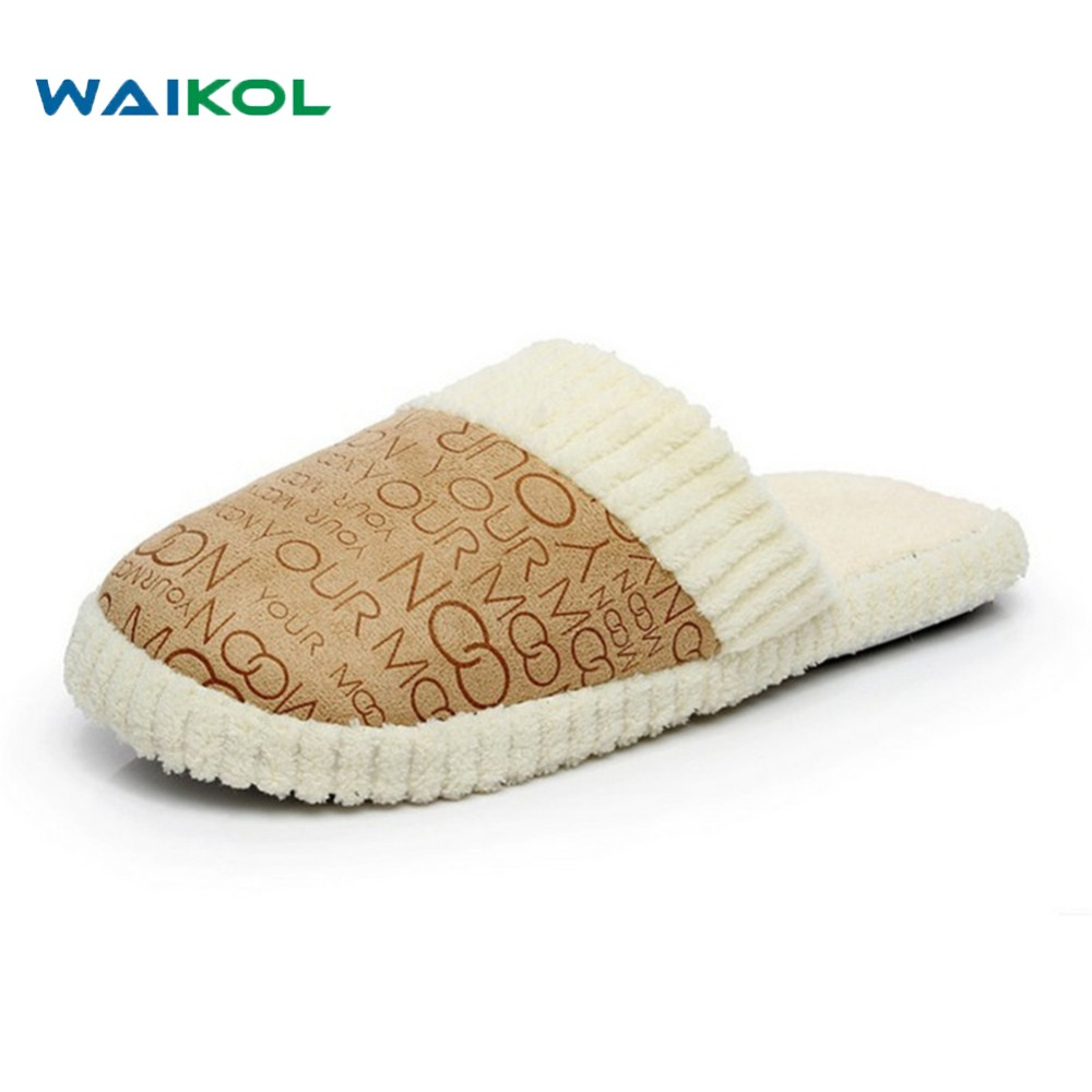Waikol Free Shipping Unisex retail House Men&Women Slippers Men Shoes Indoor Warm Slippers Cotton Slippers Home Floor Slippers autumn travel aviation hotel home shoes cotton padded folding slippers women men indoor floor slippers free shipping
