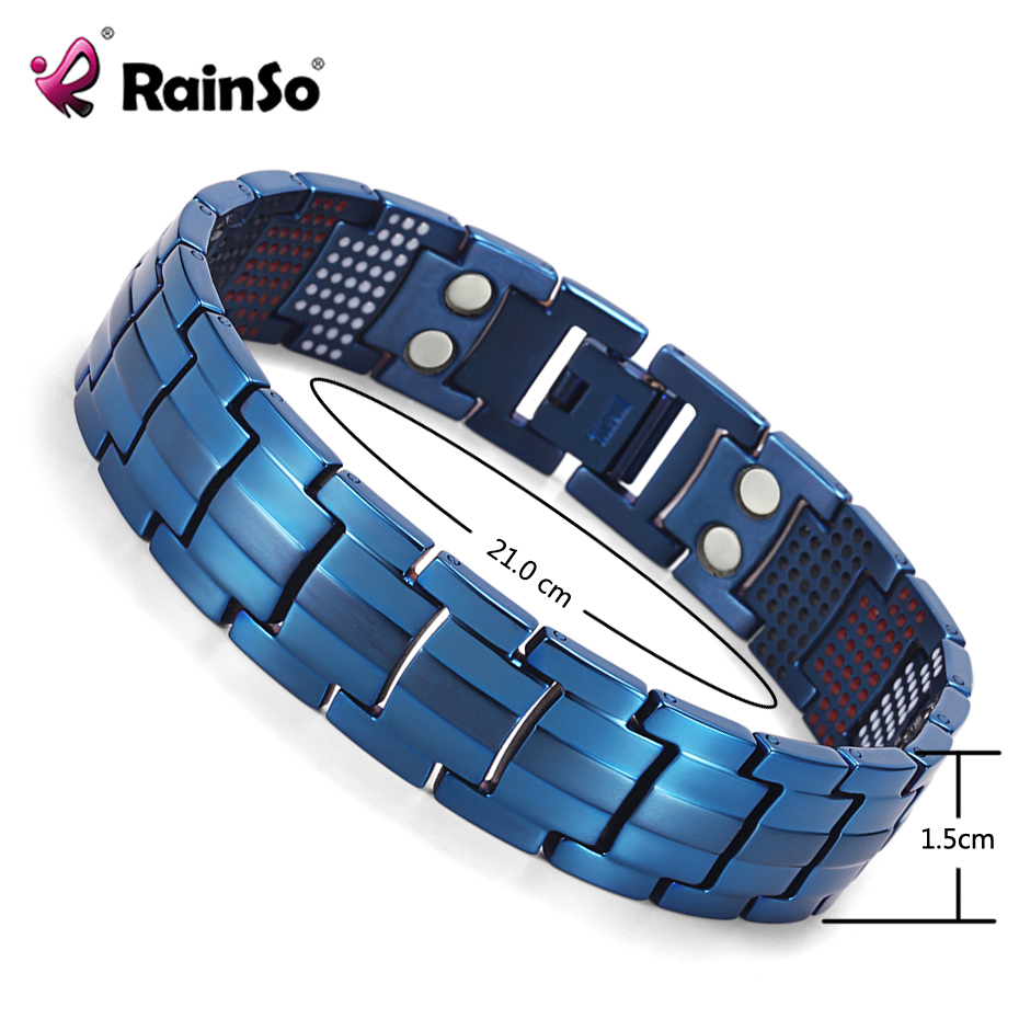 RainSo Magnetic Jewelry H Power Titanium Bracelet Therapy 2018 Popular Fashion Dropshipping Germanium Hologram Bracelets Bangles power fashion