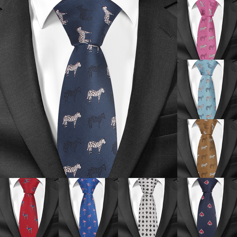 Cartoon Neck Tie For Men Polyester Jacquard Animal Necktie For Wedding Business Suits 6cm Skinny Ties Slim Men Tie Gravatas