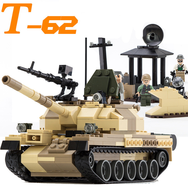 GUDI Military War Weapon Armed T-62 Tank Block 372pcs Bricks Building Blocks Sets Models Educational Toys For Children xinlexin 317p 4in1 military boys blocks soldier war weapon cannon dog bricks building blocks sets swat classic toys for children