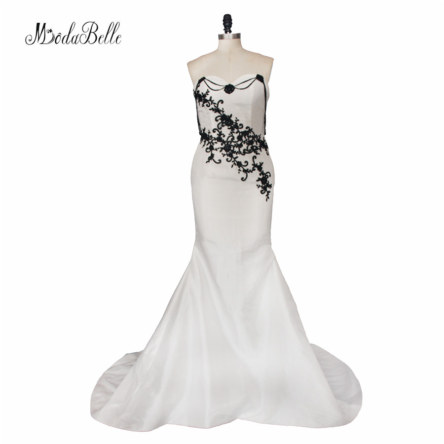 Modabelle Gothic White Black Wedding Dress Beach Lace