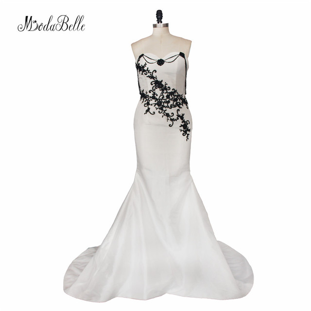 Modabelle Gothic White Black Wedding Dress Beach Lace Mermaid Bridal ...