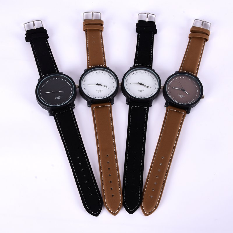 Vintage Quartz Relojes Leather Band Round Women Men Watches Oversized Wrist Watch
