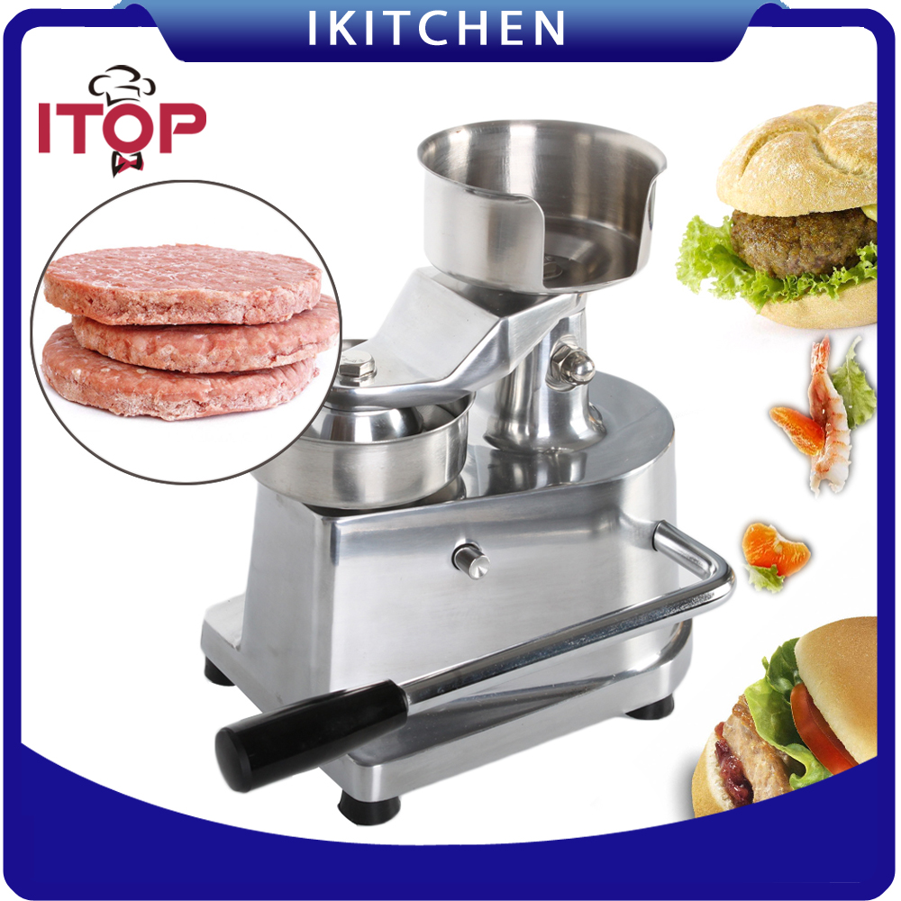 ITOP Fast delivery 100mm 130mm hamburger press, hamberger patty maker, hamburger making machine High quality fast food leisure fast food equipment stainless steel gas fryer 3l spanish churro maker machine