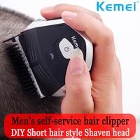 Kemei Hair Clipper 0mm Baldheaded Men DIY Hair Cutter Portable Hair Beard Trimmer Cordless Shortcut Pro Self Haircut Machine