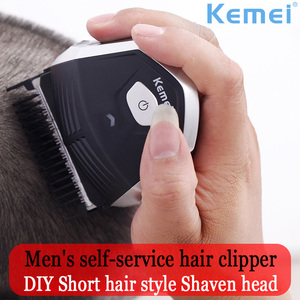 Image 1 - Kemei saç kesme 0mm kel kafalı erkekler DIY saç kesici taşınabilir saç sakal düzeltici akülü kısayol Pro kendini saç kesimi makinesi