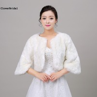 Size S M L Winter Warm Half Sleeves Fur Bridal Wraps Bolero Jacket with Faux Fox Fur Collar Wedding Bridal Coat