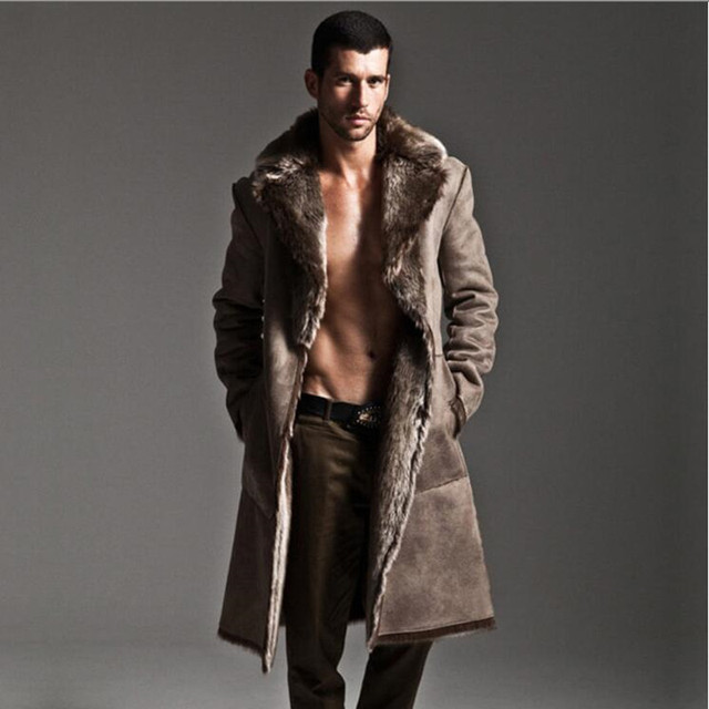 Winter mink fur coat men thickening faux fur leather overcoat high ...