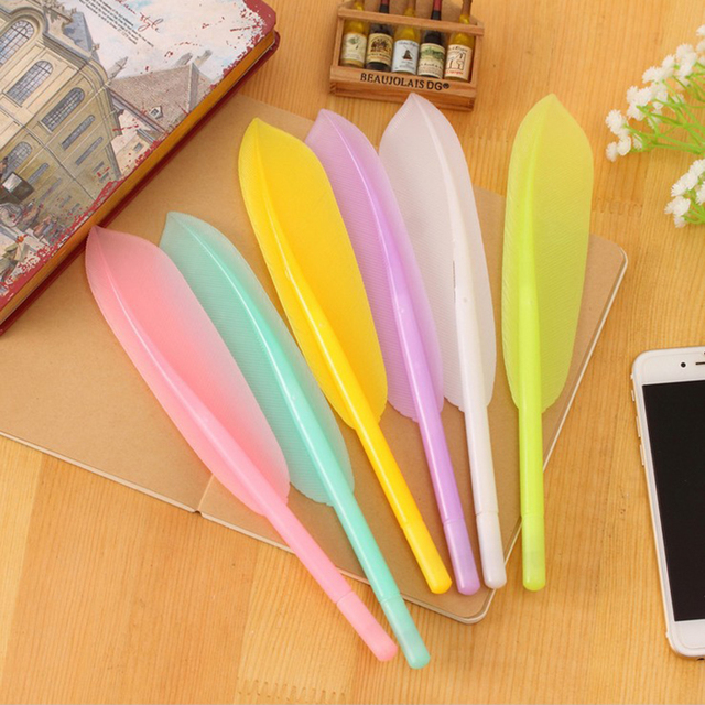 1pcs Cute Feather Decoration Toy Ballpoint Pens Black Stationery Ball Pen School Student Office Supplies