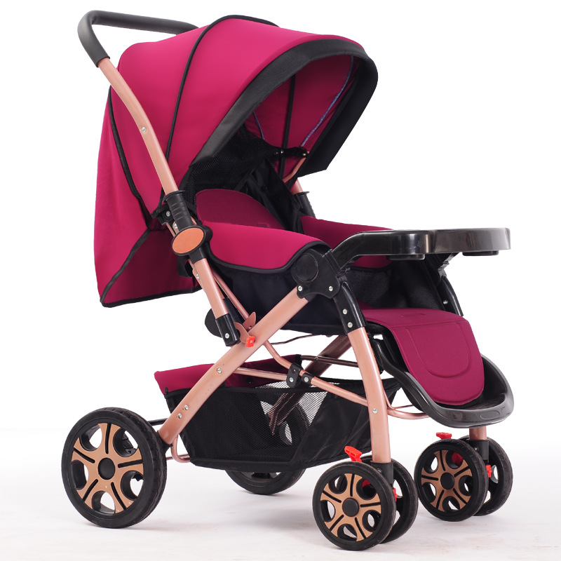 New Arrival Baby Stroller Folding Lightweight Two-way Baby Carriage for Newborn Four Seasons Can Sit Lie Baby Pushchair carrinho aoxin new children s karting four wheel exercise can sit baby pneumatic tires exercise bike