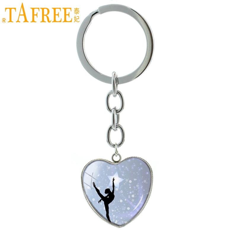 TAFREE Elegant Balletdansen sleutelhanger Sieraden vintage Irish Dance Gymnastics Dancer Ballerina hanger sleutelhanger ring cadeau HP145