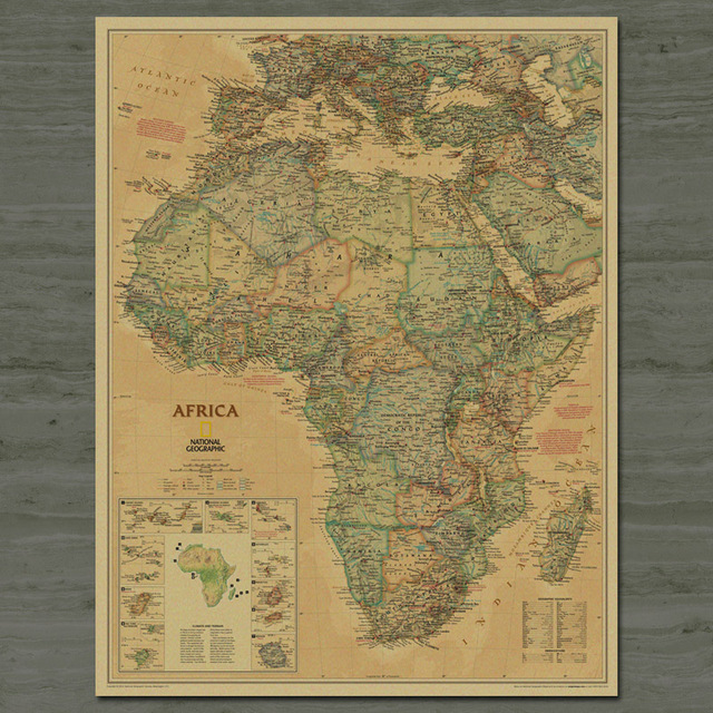 Free ship Map of Africa Vintage Kraft Paper Poster Retro Living