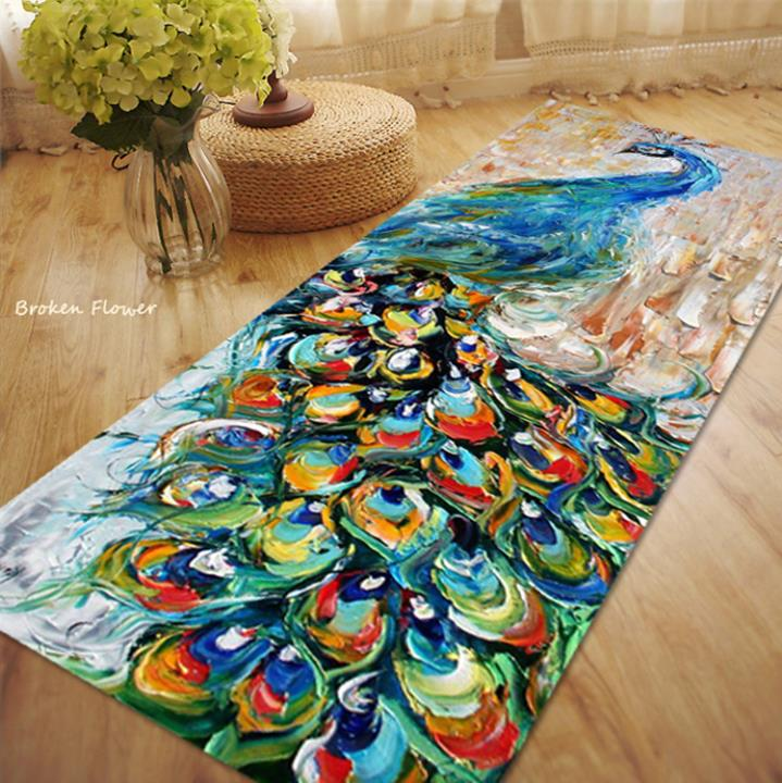 Peacock Carpet Kitchen Slip Resistant Carpet Thick Floor Yoga Mat Bedroom  Rug And Carpets For