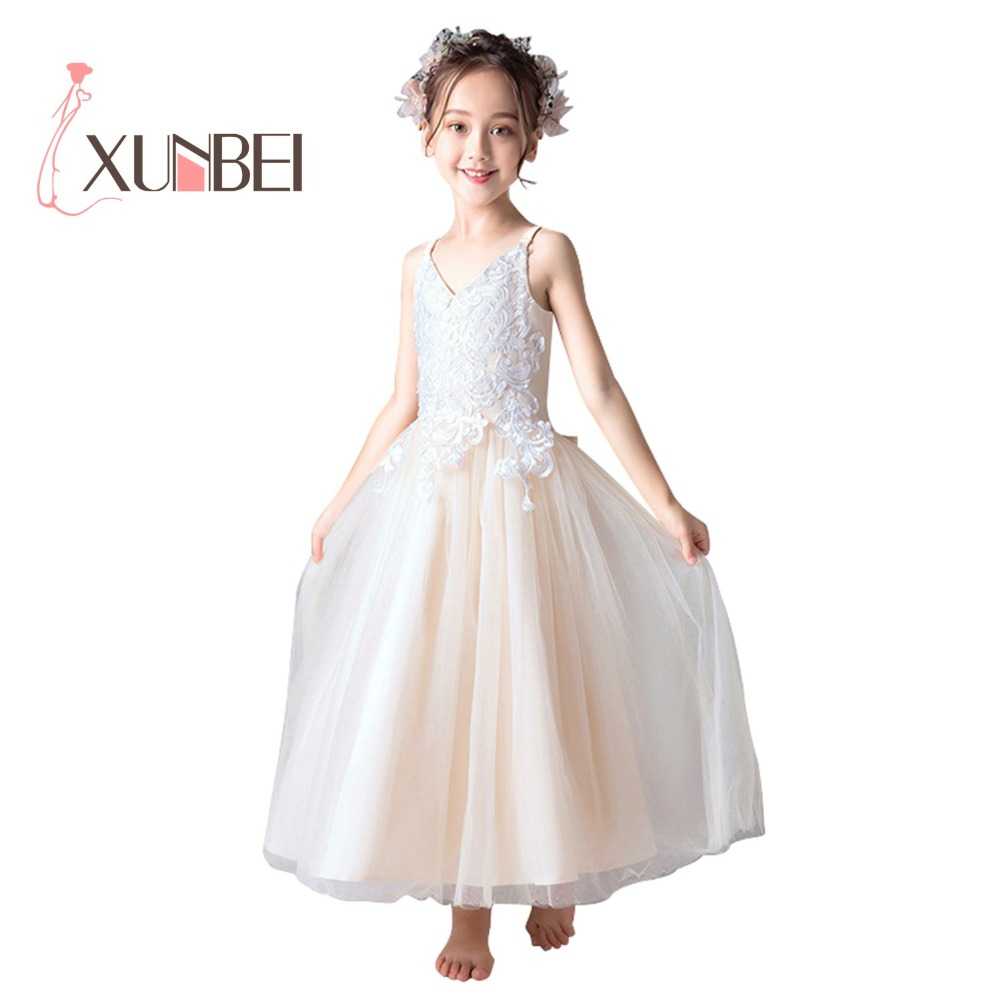 Princess Champagne   Flower     Girl     Dresses   2019 V Neck Lace Appliqued   Girls   Pageant   Dresses   First Communion   Dresses   Party Gown
