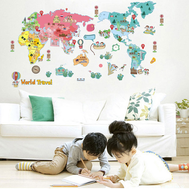 Fun world map kids wall sticker quotes vinyl wall stickers for kids fun world map kids wall sticker quotes vinyl wall stickers for kids rooms diy home decor gumiabroncs Image collections