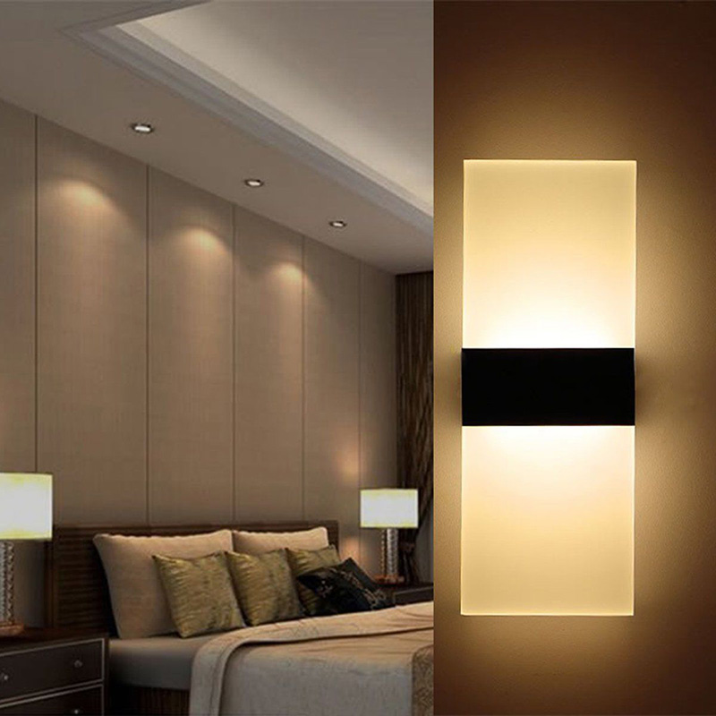 Golden Lampstands Led Wall Light Up Down Cube Indoor Outdoor Sconce Lighting Lamp Fixture Decor