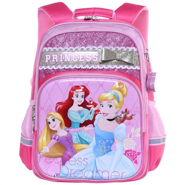 New Fashion Princess Rapunzel Cinderella Ariel Pink Purple Backpack School  Bags for Girls Kids Primary School Children Bag 6c40491641193