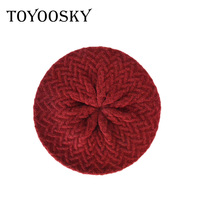 TOYOOSKY 2017 Women Berets Wool Knitting Cap Winter Solid Fashionable Hat