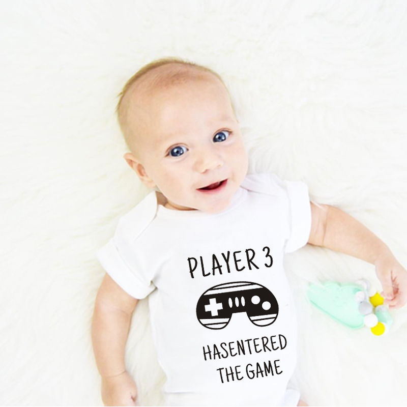 HY0009 Funny Baby Rompers Player 3 has entered the game Short Sleeve Unisex Jumpsuit ...