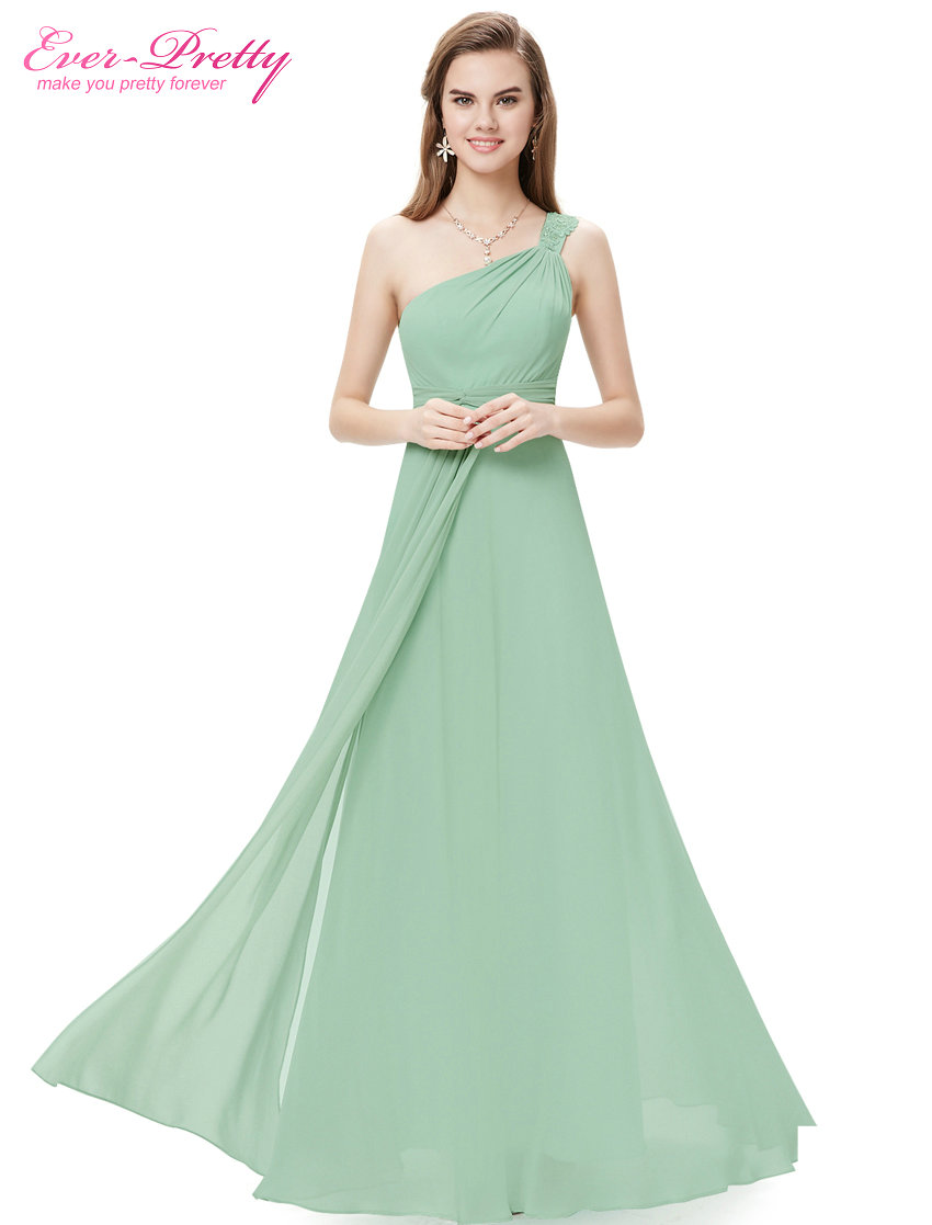 [Clearance Sale] Bridesmaid Dresses Ever Pretty HE08034 Flowers One Shoulder Rhinestone Lace Floor Long Bridesmaid Dress 2017