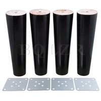 BQLZR 195x60x40mm Cone Black Eucalyptus Material Sofa Chairs Wooden Replacement Furniture Legs Pack Of 4