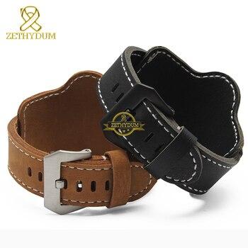 Fashion Genuine leather bracelet watch strap mens watchband wristwatches band Nubuck 20mm 22mm 24mm 26mm watchbands wristband цена 2017