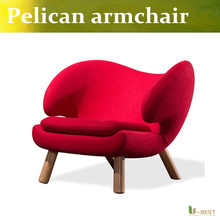 U-BEST soft cashmere Pelican chair wood sofa chair Pelikan Armchair Beanbag chair for Living room balcony study  room red fabric