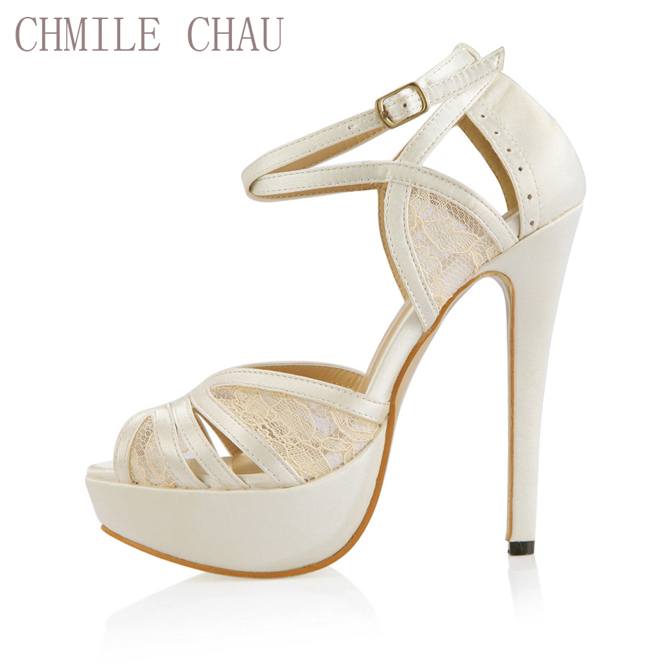 CHMILE CHAU Ivory Satin Elegant Wedding Party Women's Shoes Peep Toe Stiletto Heel Bridal Platform Sandals with Buckle 3463SL-p1 free shipping ep2107 ivory women s open toe stiletto high heel satin flowers pearls bridal wedding sandals