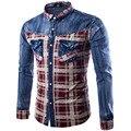 Mens Full Sleeve Denim Shirts 2016 Fashion Slim Fit Plaid Denim Shirts Casual Patchwork Chemise Homme Camisa Masculina 3Xl