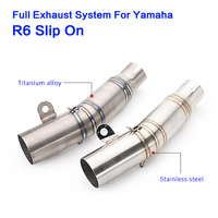 R6 Mid Link Pipe Full System Motorcycle Exhaust Pipe for yamaha r6 slip on Motorcycle Muffler Echappement with middle pipe