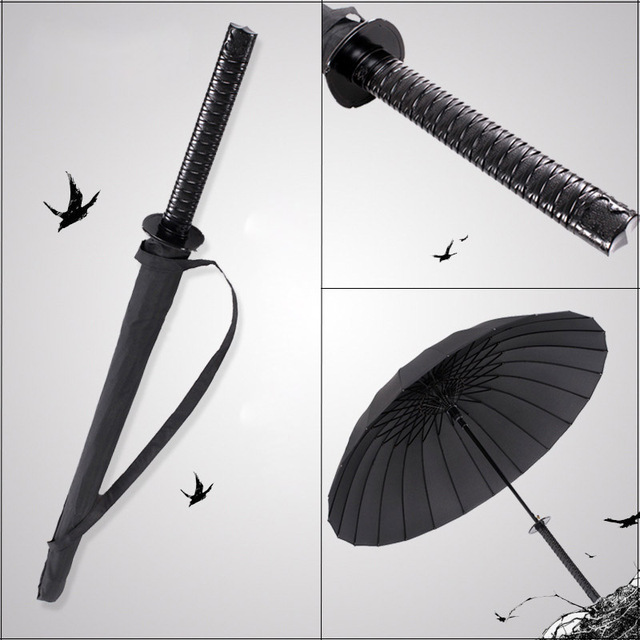 GQIYIBBEI Creative Long Handle Large Windproof Samurai Sword Umbrella Japanese Ninja-like Sun Rain Straight Umbrella Manual Open
