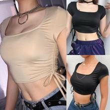 Women Summer Blouse Sexy Lumbar Casual Bralet Crop Top Slim Short Sleeve Solid