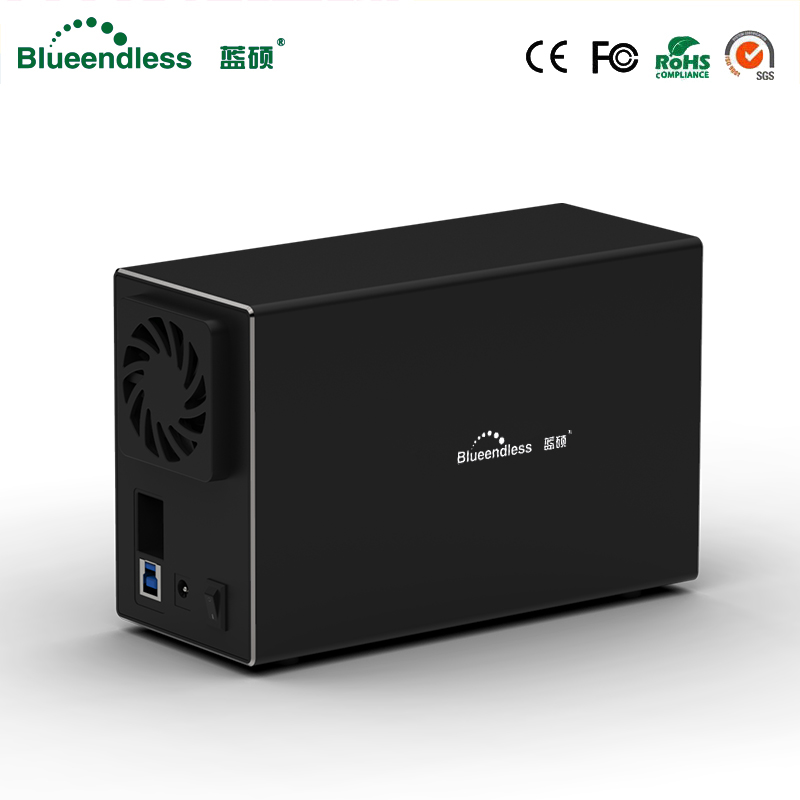 "Blueendless Aluminum Tool Free 2 Bay 3.5"" SATA To USB 3.0 External Hard Drive Enclosure Support 2x 10TB Drive -Black"