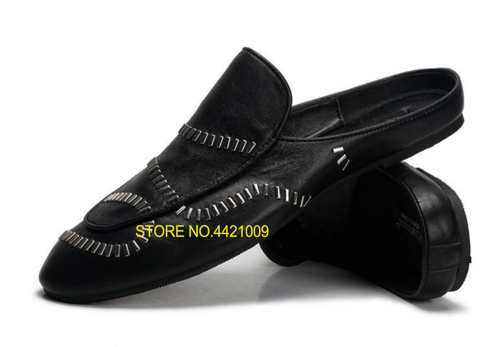 Black White Man Fashion Mules Shoes Loafers 2018 Leather Real Italy Runway Sapatos Slippers Shoes Slip On Man MocassionBlack White Man Fashion Mules Shoes Loafers 2018 Leather Real Italy Runway Sapatos Slippers Shoes Slip On Man Mocassion