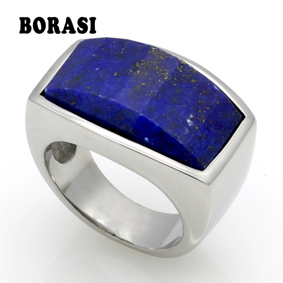 Top Quality Fashion Jewelry 316L Stainless Steel Malachite/Lapis Lazuli Natural Stone Ring For Men Birthday Gift купить недорого в Москве