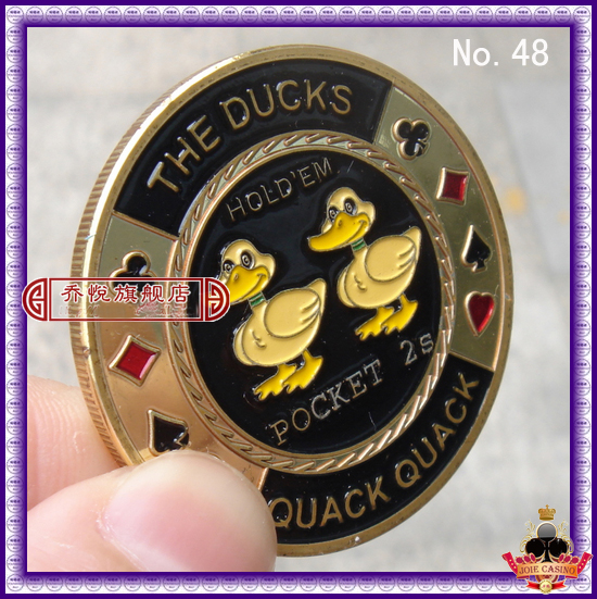 Metal for Pressing Poker Cards Guard Protector No.48 THE DUCKS QUACK QUACK  Poker Chips Souvenir Coins