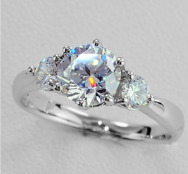 Real Solid Gold 585 3.2Ct Three Stones Diamond Ring 14K White Gold Engagement  Ring for Women Anniversary Jewelry-in Rings from Jewelry   Accessories on  ... 5353f3bc3b93