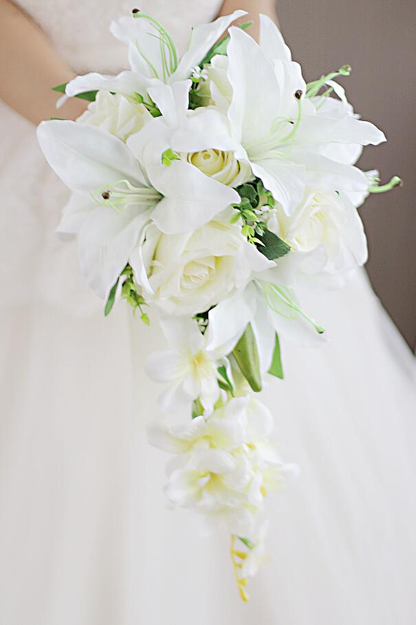 3ddfe75850f Waterfall Lily White Rose Bridal Bouquest Royal Wedding Bouquet For Brides  Flower Drop Shaped Bridal Artificial Holding Flowers -in Artificial   Dried  ...