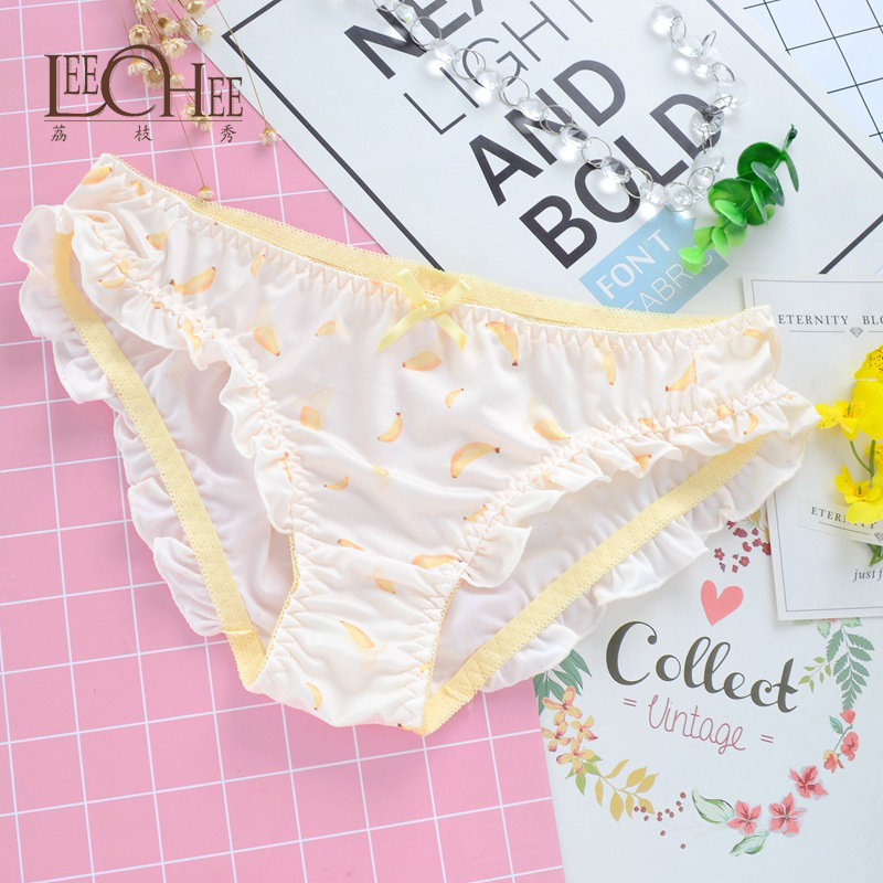 84ce9a95699 Japanese original single Japanese girl student underwear printed cute milk  silk low waist flashing ladies underwear