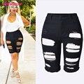 Novo 2017 Moda Preto Rasgado Calções Buraco Mulheres Denim Jeans Curto Shorts de Cintura alta Feminino Sexy Elevador Quadril Shorts Jeans Tamanho Grande