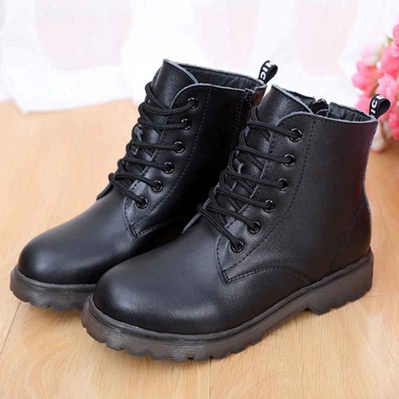 Дитячі та хлопчики Ботинки для снігу Натуральна шкіра Зимове взуття Водонепроникний нековзний дитячі чоботи Платформа Lace-Up Kids Shoes