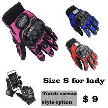 knight full finger small size  S pink orange black  women motorcycle gloves Moto Mujer Luva Motoqueiro moto race female Gloves