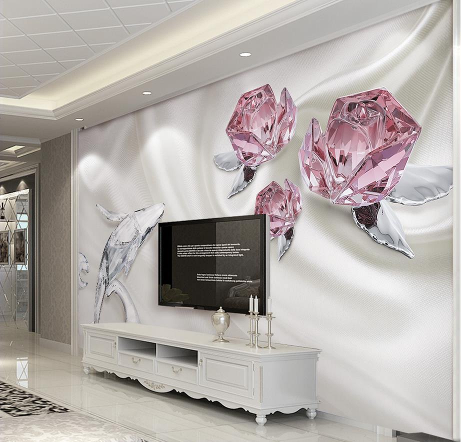 Custom 3d photo wallpaper fashion crystal rose 3d murals for 3d rose wallpaper for bedroom