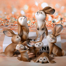 hot deal buy cartoon dream simulation rabbit small animal resin crafts small ornaments creative animal cartoon happy lively rabbit