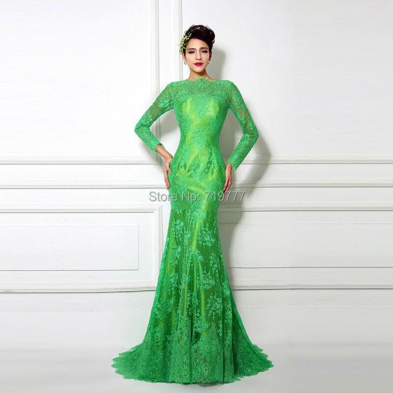 Real Samples Emerald Green Dress Long Sleeve Women Dress Evening ...
